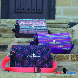 Necessity Totes in Chocolate Tribal, Plum Daze, and Coral Knights