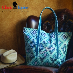 Large Tote in Teal Diamond